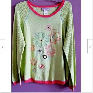 Susan Bristol Sweater XL Lime Green Embroidered